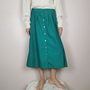 Vintage green button up minimalist Large skirt